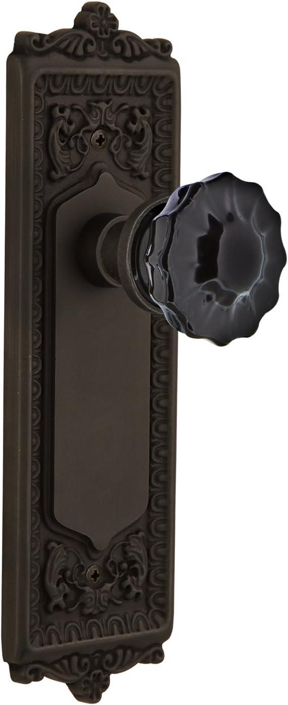 Nostalgic Warehouse 726677 Egg & Dart Plate Passage Crystal Black Glass Door Knob in Oil-Rubbed Bronze, 2.375 61Kzzv7br9LSL1490_