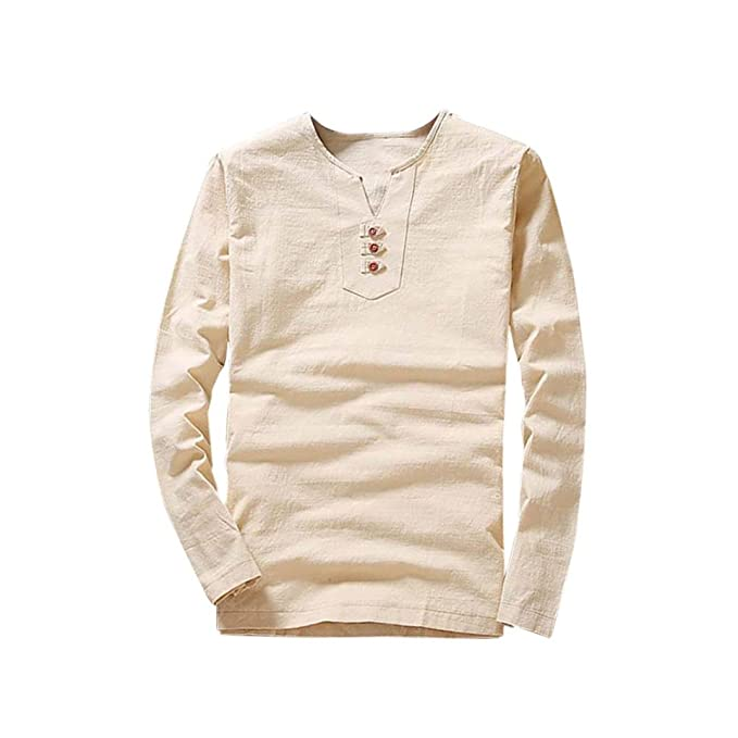 b261e8043f9 SNOWSONG Mens Cotton Linen Shirts V Neck Button up Tops Long Sleeve Tees  Plain Buttons Blouses