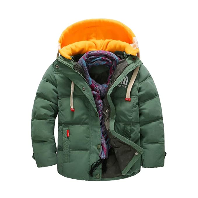 KaloryWee Boys Coats, Boys Winter Coat Quilted Jacket Contract Color Padded Down Detachable Hood Puffer Jacket Snowsuit