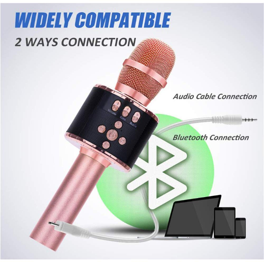 Wireless Karaoke Microphones Speaker 4 in 1 Handheld Portable Bluetooth Karaoke Player Compatible with Android & iOS for Home KTV Party Muisc Playing Singing & Recording Wireless Bluetooth Karaoke Mic by Xiuzhifuxie (Image #4)