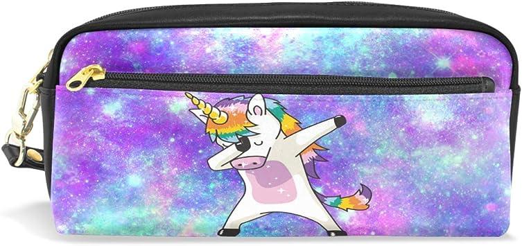 Amazon Com Unicorn Pencil Case Cute Pencil Pouch Large Funny Long Pen Bag Zip Leather Pen Pencil Case Galaxy Purple For School Girls Kids Home Kitchen