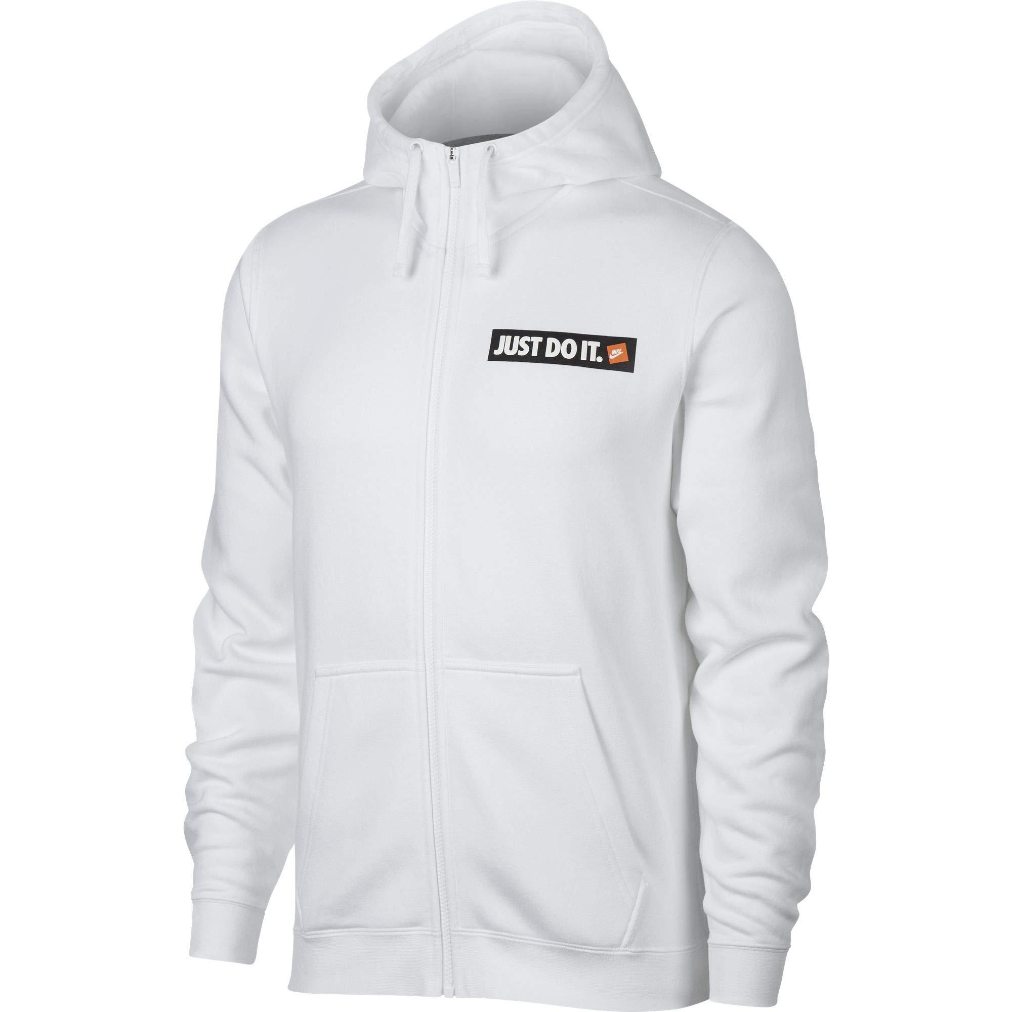 Nike Men's Sportswear Full-Zip Fleece Hoodie White (X-Large)