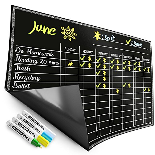 (Magnetic Chore Chart for Kids - 4 Chalk Markers - Children's Dry Erase Chalkboard Calendar for Multiple Household Chores & Responsibilities - Easy-to-Clean Reusable Family Refrigerator Weekly Planner)