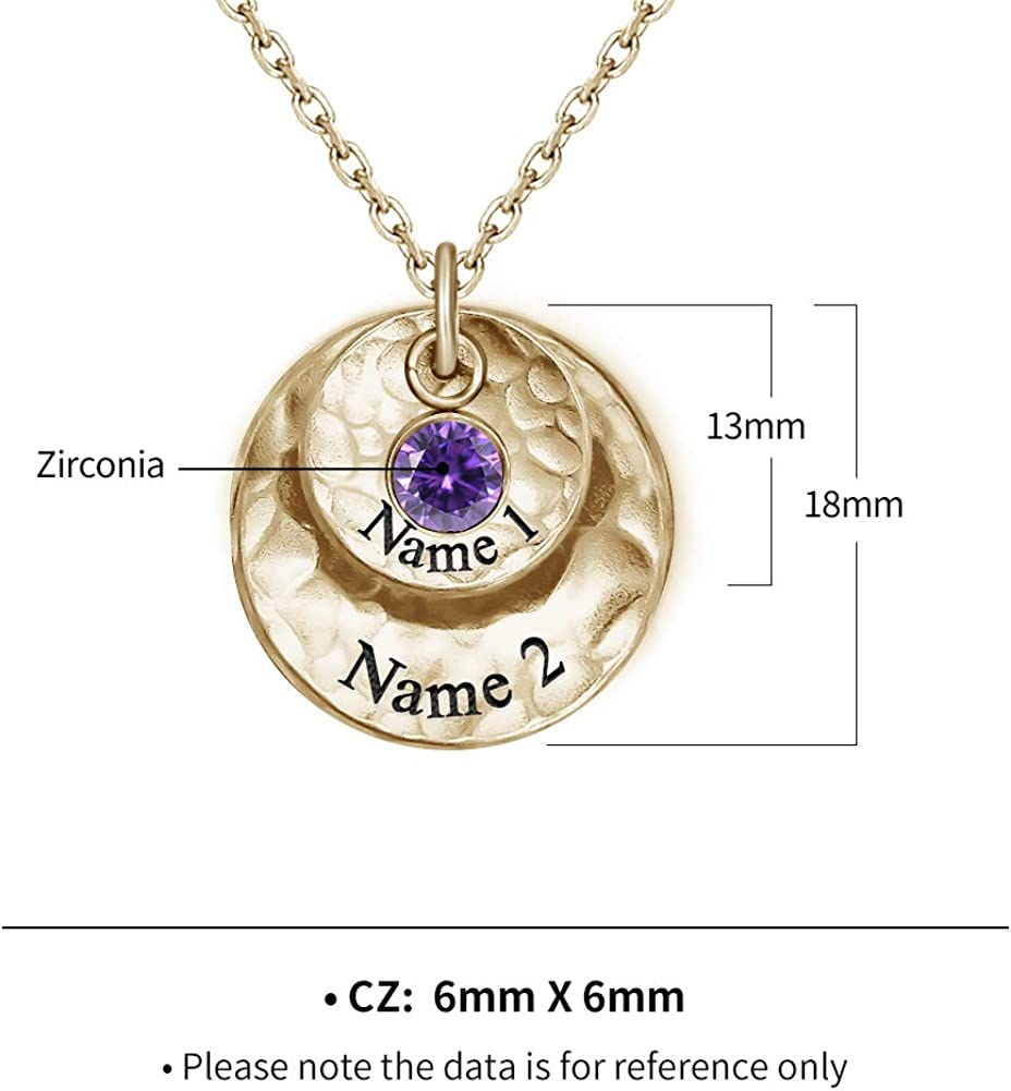 Lovenus Personalized Disc Name Necklace with Birthstone 925 Sterling Silver Customized Christmas Necklace Custom Friendship Necklace for Best Friend