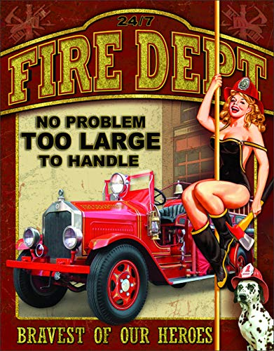 "Desperate Enterprises Fire Dept - No Problem Too Large to Handle Tin Sign, 12.5"" W x 16"" H"