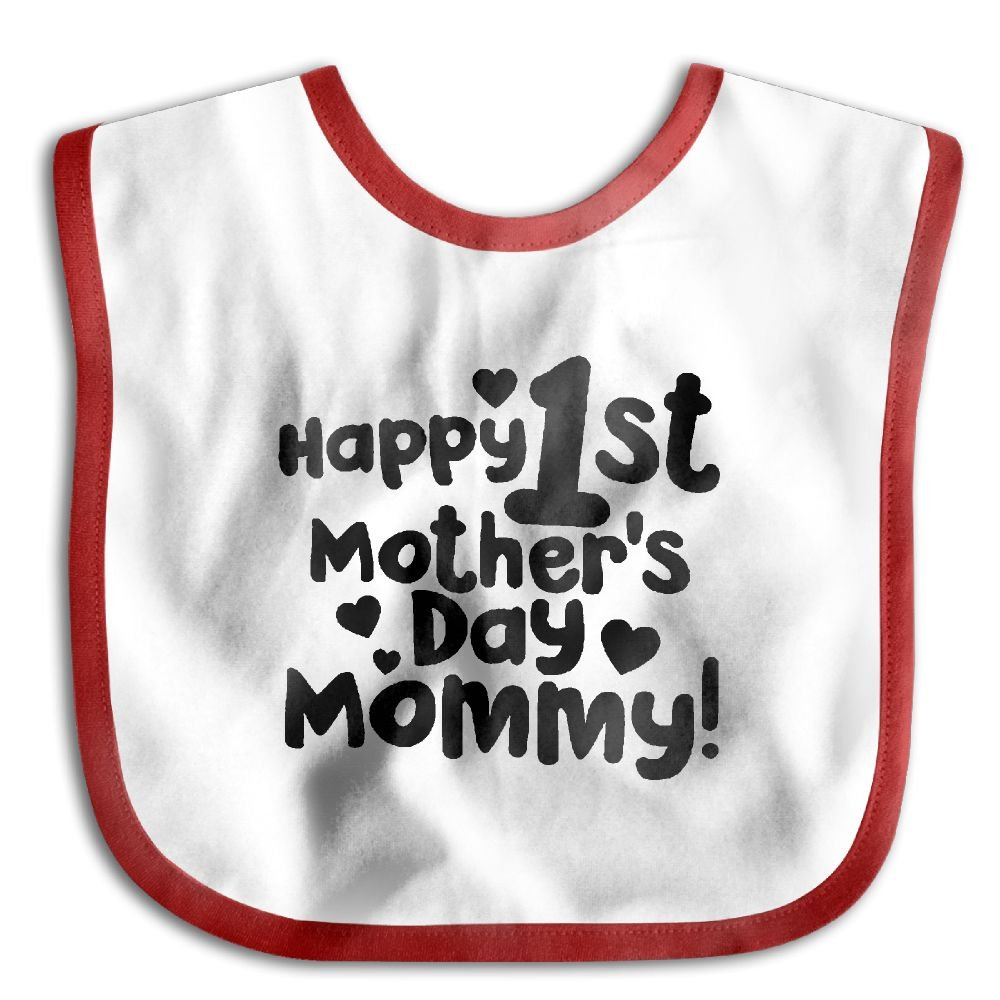 Happy 1st Mothers Day Mommy Baby Bib Waterproof Bib For Drooling And Teething