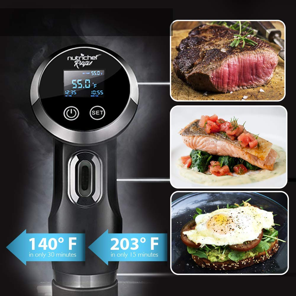 Sous Vide Immersion Circulator Cooker - 1000 Watt Stainless Steel Thermal Cooking Machine  Digital Time / Temperature - Clips On Deep Container - NutriChef by Nutrichef (Image #4)