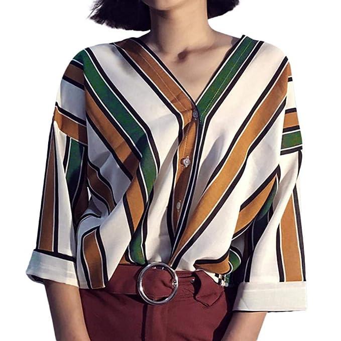 Blusa de Las Mujeres de la Moda, Rayas Casuales SunGren botón Remata la Camiseta Top Blusa de Las gasas de la Manga de la Llamarada Tres Cuartos: Amazon.es: ...