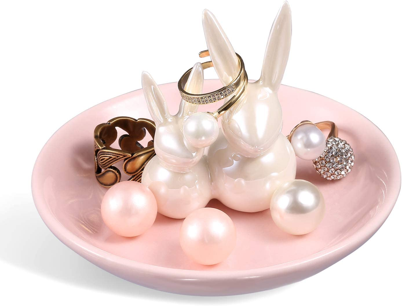 ROSA&ROSE Cute Pair Rabbits Ring Holder Ceramic Dish Jewelry Tray Trinket Kitty Table Decor Stand Valentine Gift for Mom (Pearl White)