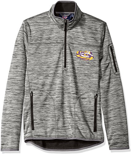 NCAA Lsu Tigers Men's Fast Pace Half Zip Pullover Jacket, X-Large, Heather Grey