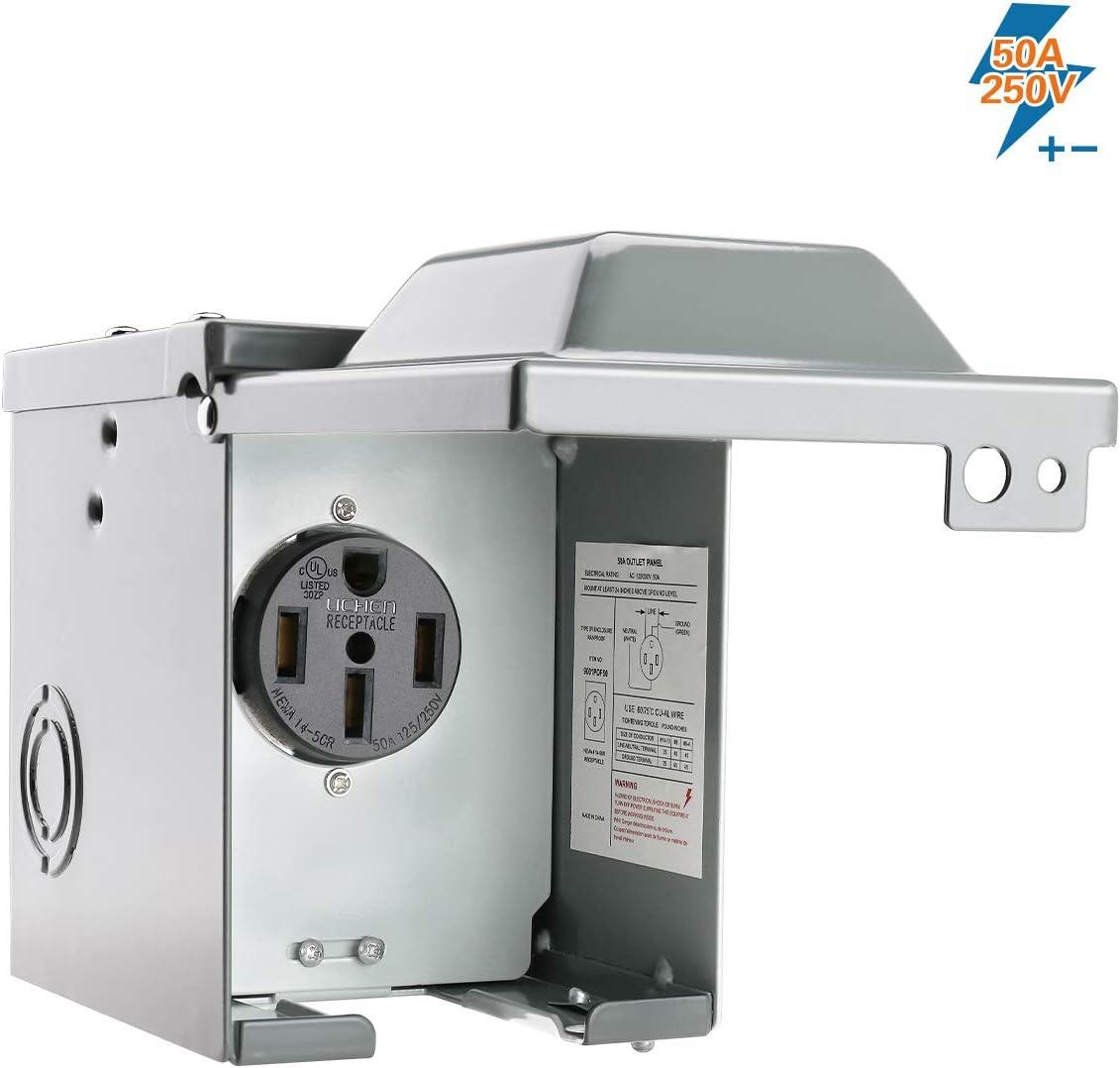 BougeRV 50 Amp 125/250 Volt RV Power Outlet Box,Enclosed Lockable Weatherproof Outdoor Electrical NEMA 14-50R Receptacle,ETL Listed,For RV Camper Travel Trailer Motorhome Electric Car Generator