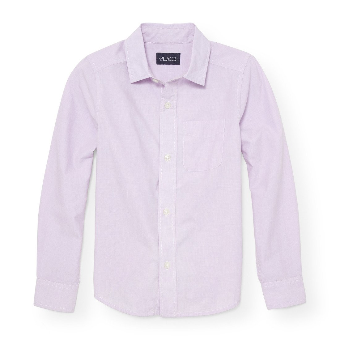 The Children's Place Big Boys' Long Sleeve Woven, Purple Opal 88256, M (7/8)