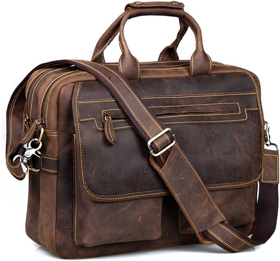 Kattee Mens Crazy-Horse Cow Leather Briefcase Fits 15.6 Laptop Vintage Satchel Bag