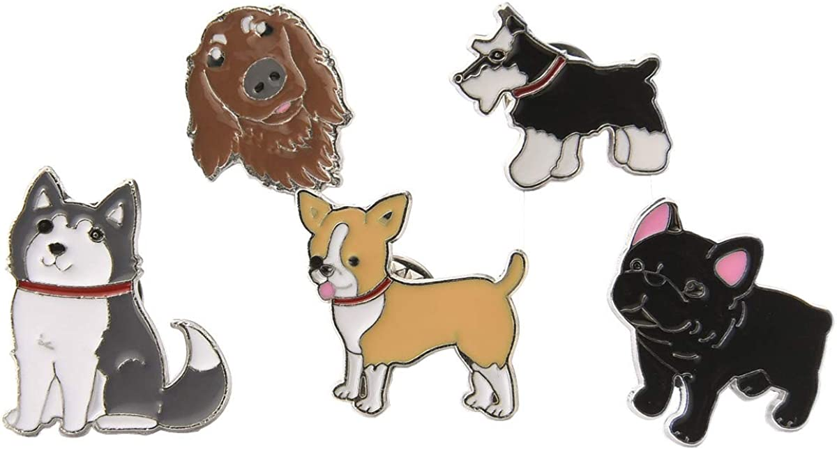 GYAYU Cute Dog Enamel Brooch Pins Set,Lapel Pins for Clothing Bag Decor
