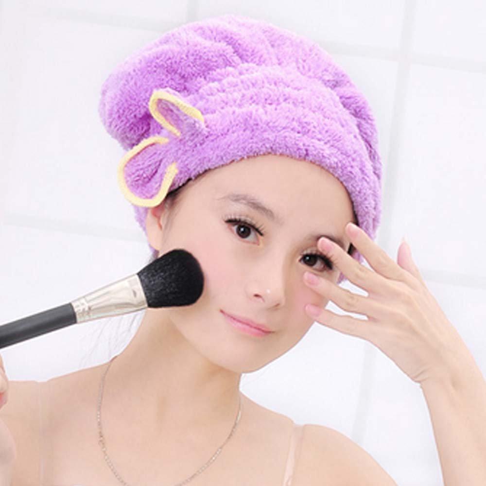 KaLaiXing Hair Drying Towel, Women Lady Girls Long Hair Magic Drying Towel Hat Cap Quick Dry Turban For Bath Shower Pool--purple