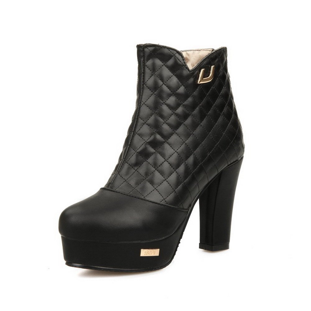 WeenFashion Women's Round Closed Toe Low-top High Heels Solid PU Boots, Black, 41