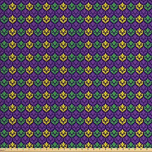 Ambesonne Mardi Gras Fabric by The Yard, Antique Old Fashioned Motifs in Mardi Gras Holiday Colors Tile Pattern, Decorative Fabric for Upholstery and Home Accents, 1 Yard, Purple Green -