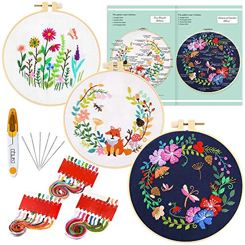 Caydo 3 Sets Embroidery Starter Kit with Pattern and Instructions, Cross Stitch Kit Include 3 Embroidery Clothes, 3 Plastic Embroidery Hoops, Color Threads and Tools