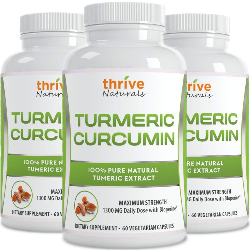 Thrive Naturals Turmeric Curcumin with BioPerine - 60 Vegetarian Capsules (3 Pack)