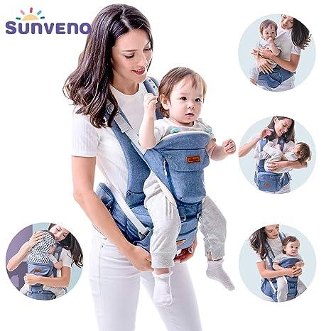Sunveno - Portabebés ergonómico con asiento de cadera delantero y trasero para bebés de 0 –
