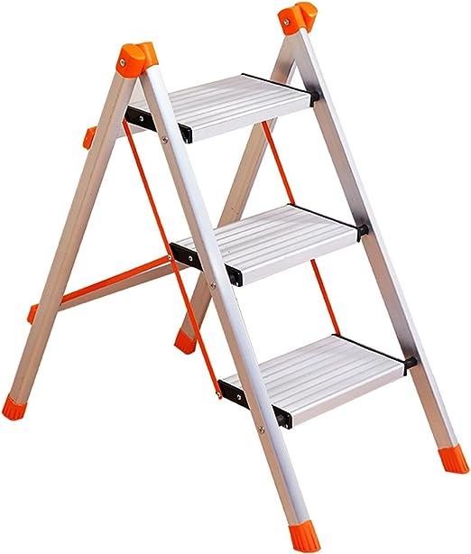 GAOJIAN Escalera de aluminio de acero inoxidable Escalera de tres pasos Escalera plegable de casa Escalera pequeña Escalera de escalera de ascension, capacidad del cojinete150kg: Amazon.es: Hogar