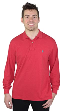 Polo Ralph Lauren Classic Fit Long Sleeve Polo Shirt (Red Heather, Large)