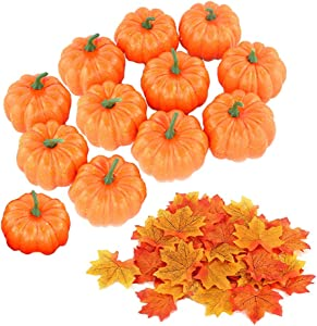 12 Pack Artificial Mini Fake Pumpkins with 30PCS Maple Leaves for Halloween Decoration,Small Cute Realistic Pumpkin Fall Harvest Thanksgiving Party Decor(Orange)