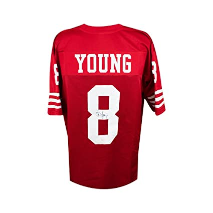 Image Unavailable. Image not available for. Color  Steve Young Autographed San  Francisco 49ers Custom Red Football Jersey ... 6e323d504