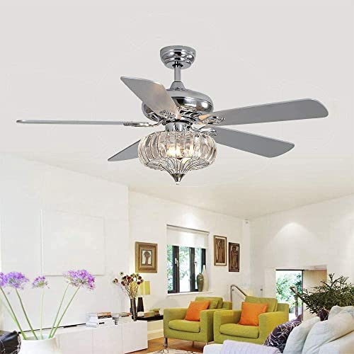 LuxureFan 52Inch Ceiling Fan with Light 5 Reverse Wood Blades Chrome Body Crystal Ceiling Fan with Remote Decoration for Home Restaurant Living Room