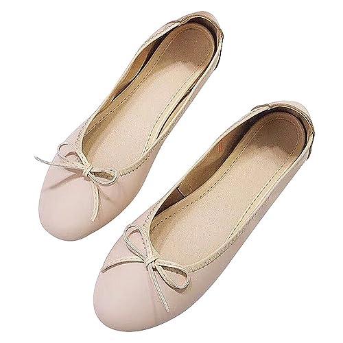 rismart Mujer Ponerse Centavo Mocasines con Bowknot Plegable Bailarinas Cuero Vestir Zapatos SN020339(Almendra,
