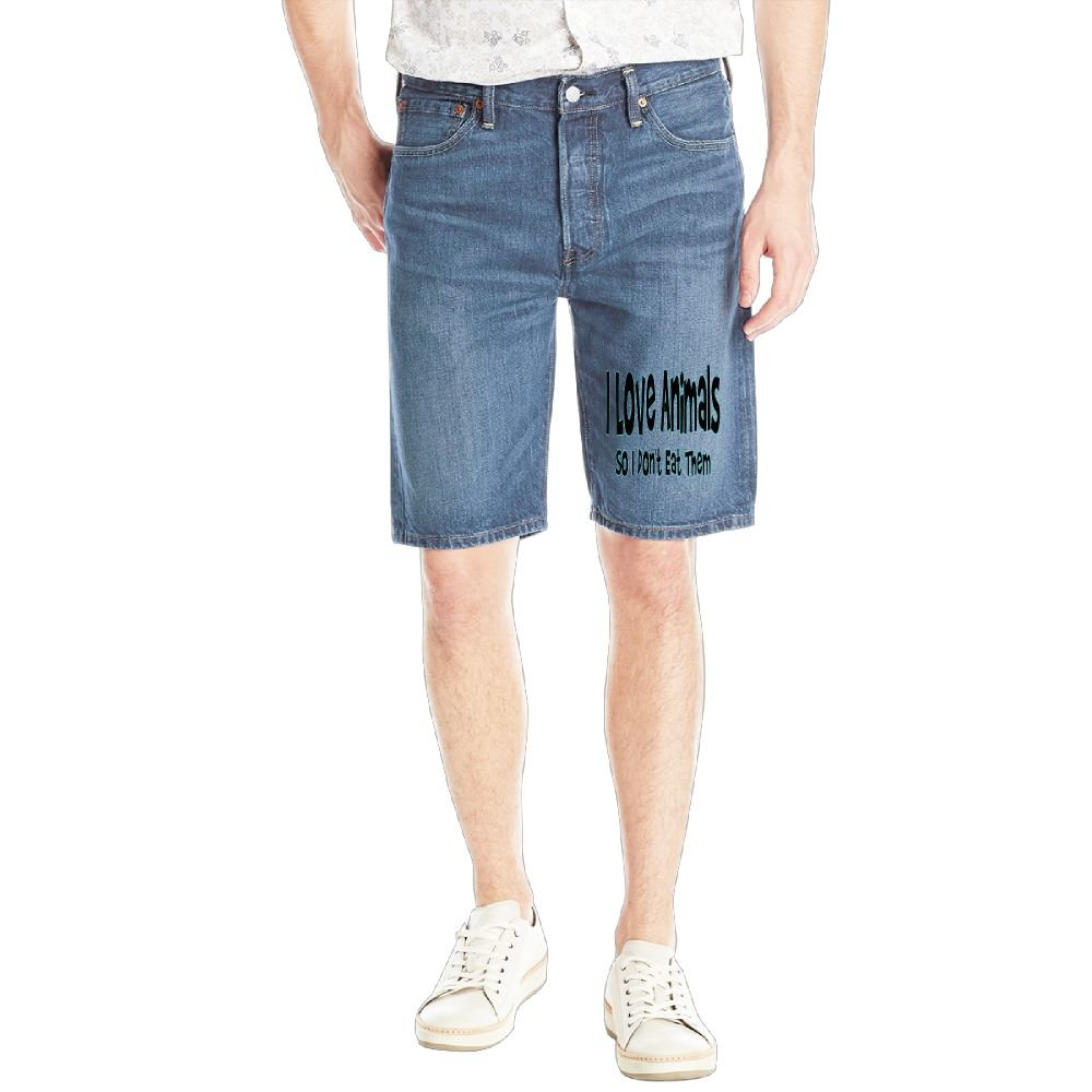 I Love Animals So I Don't Eat Them. Mens Casual Short Denim Jean Pants Cool Casual Jeans Trousers RoyalBlue