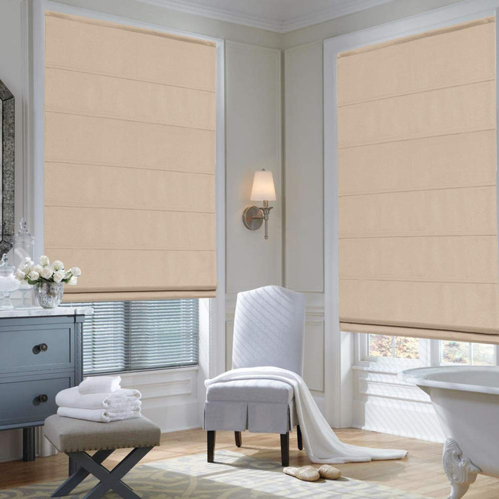 Doors Artdix Roman Shades Blinds Window Shades Kitchen French Doors Beige 20 W x 36H Inches Blackout Solid Thermal Fabric Custom Made Roman Shades for Windows