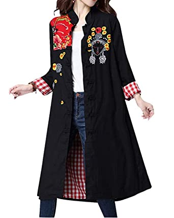Adelina Abrigos Mujer Largos Vintage Bordados Etnica Estilo Chaquetas Manga Larga Stand Cuello Anchas Retro Casuales Chaqueta Outerwear Primavera Otoño: ...