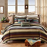 6 Piece Purple Teal Stripes Coverlet King Set, Multi Striped Bedding Colorful Spice Red Earthy Tones Southwest Stitched White Textured Design Bohemian Horizontal Pattern, Polyester Microfiber