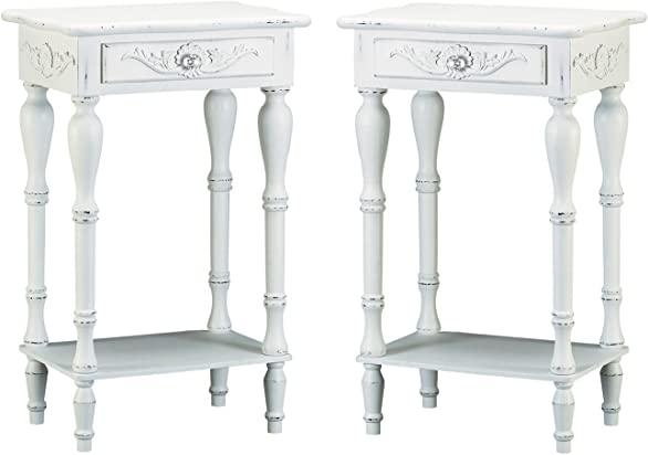 Set of 2 Carved Wood Shabby White Nightstand