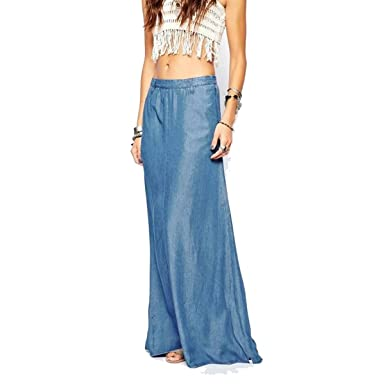 3cfd1ad7a50 Vateno Spring and Summer Fashion Casual Thin Cowboy Denim Straight Female  Jeans Demin Long Maxi Skirt
