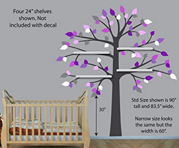 Purple Gray Wall Decals, Shelf Tree Wall Decal, Girls Room, Vinyl Tree