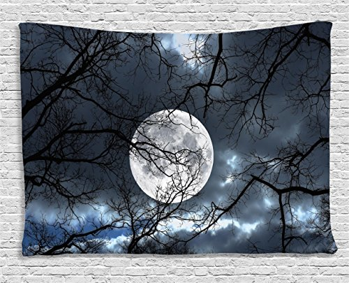 Farm House Decor Tapestry by Ambesonne, Full Moon at Night  Forest Winter Time Mystical