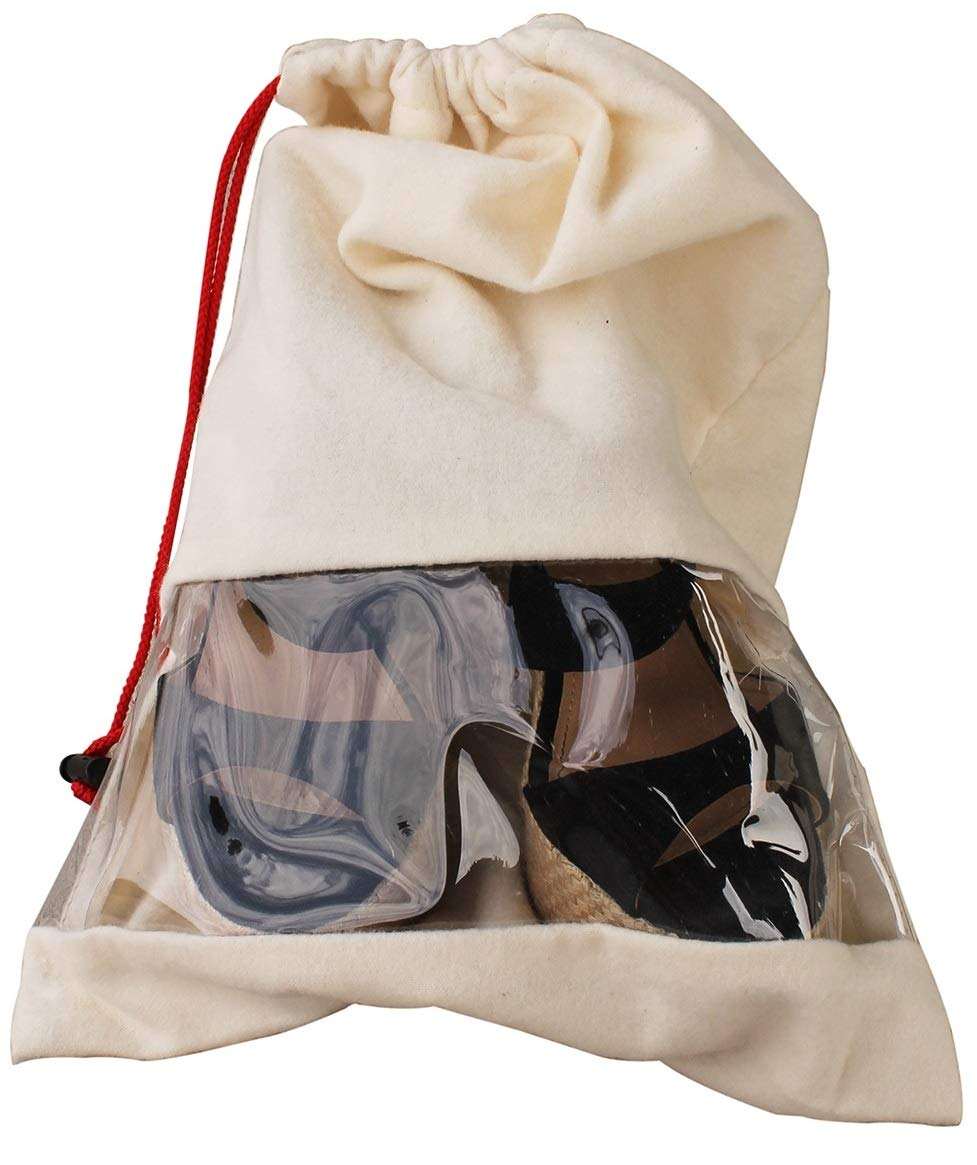 Earthwise Shoe Storage Bags Travel Portable Cotton Shoe Bags with Drawstring & Clear Window For Men and Women Made in the USA (Set of 2) by Earthwise (Image #1)