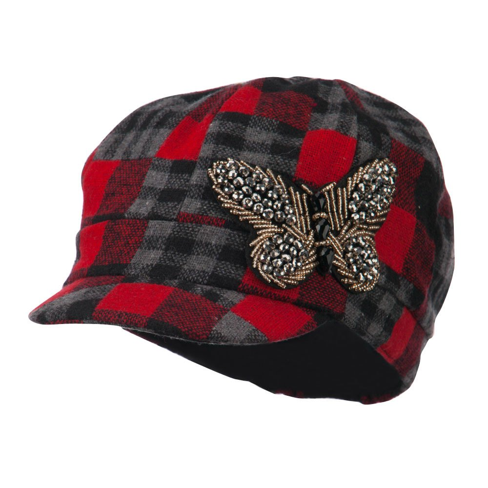 Plaid Newsboy Cap with Beaded Butterfly - Red OSFM