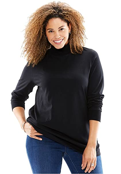 55f7f5fa649be4 Woman Within Women s Plus Size Perfect Long Sleeve Mock Turtleneck - Black