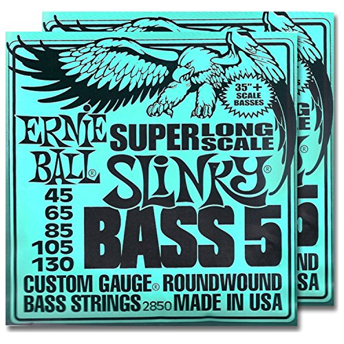 2 Sets of Ernie Ball 2850 5 String Slinky Super Long Scale Bass Strings ()
