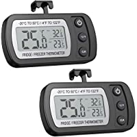 AMIR Digital Refrigerator Thermometer, Mini Freezer Thermometer, Refrigerator Freezer Waterproof, LCD Display, ℃/℉ Switch + Max/Min Record, for Kitchen, Home, Restaurants(2 Pack,Battery Included)