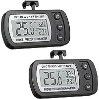 AMIR Digital Refrigerator Thermometer, Mini Freezer Thermometer, Refrigerator Freezer Waterproof, LCD Display…
