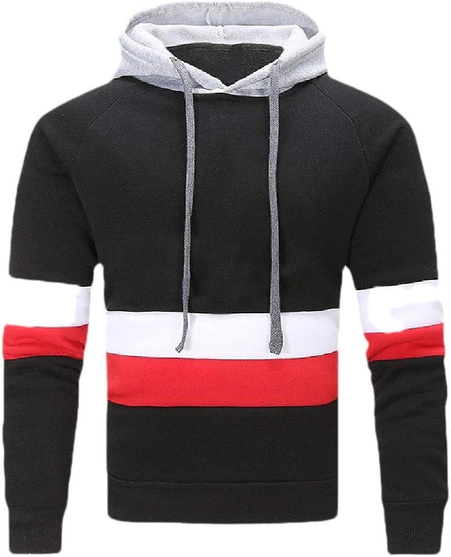 Tralounry Men Long Sleeve Striped Drawstring Casual Leisure Sweatshirts with Hood