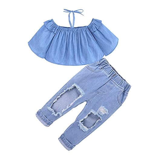 5be1066536a779 Amazon.com  Miwear 2pcs Summer Outfits Little Girls Off Shoulder Halter Top  + Ripped Hole Jeans Pants Clothing Set  Clothing