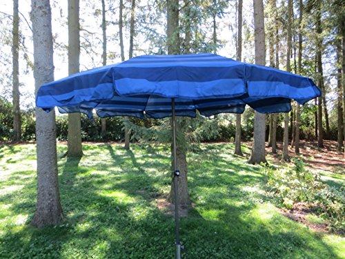 Absolut wetterfester Gartenschirm Sun Matic 250 von Doppler mit UV-Schutz 39 und Knicker, Farbe dunkelblau gestreift