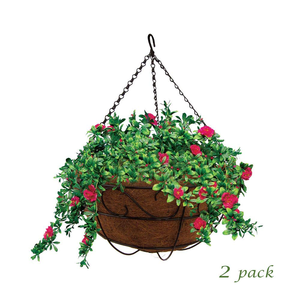 MTB Garden Hanging Baskets 16'' S Style with Coco-Liner, Pack of 2,Hanging Planter Plant Hanger Hanging Flower Basket Chain Basket and Plant Growers for Home Balcony Patio Decoration