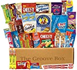 The Groove Box Variety Snack Box - Assorted Chips, Snacks, Bars & More - 35 Snack Items Care Package to Share and Send Friends, College Students, Military, Road Trip Snack Box