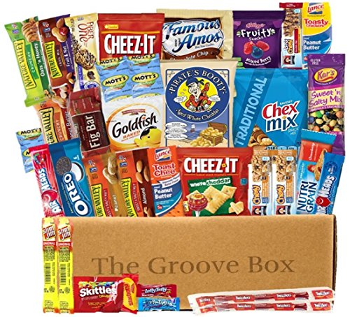 The Groove Box Variety Snack Box Assorted Chips, Snacks, Bars and More Over 40 Snack Items Care Package To Share and Send Friends, College Students, Military, Road Trip Snack (Road Trip Gift Box)